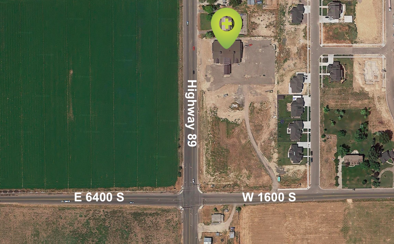 Overhead view of Mapleton location